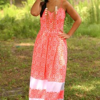 Only Us Maxi Dress: Neon Coral/White - What's New - Hope's Boutique