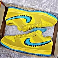 NIKE Air jordan AJ1 new sports plus fleece shoes sneakers Yellow