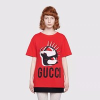 """Gucci"" Women Casual Personality Fashion Cartoon All-match Pattern Letter Print Short Sleeve T-shirt Top Tee"