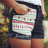 Aztec tribal shortsblack high waisted jeans by Jeansonly on Etsy