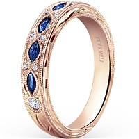 Kirk Kara Dahlia Marquise Cut Blue Sapphire Wedding Band