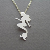 Mermaid necklace Pendant - Sterling Silver Hand cut Silhouette