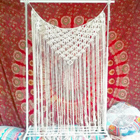 Macrame Curtain- Macrame Wall Hanging~ Bohemian Furniture~ Boho Wall Decor~ Wedding Decor~ White Wall Accent- Bohemian Decor- Bedroom Decor