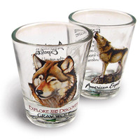 American Expedition Set of 2 Shot Glasses - Wolf