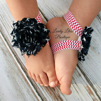Baby Barefoot Sandals .. Navy Stars on Red Chevron .. Toddler Sandals .. Newborn Sandals .. Baby Flower Sandals