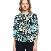 P.Blk/Trmlne Ever Ever After Floral Silk Top by Juicy Couture,