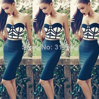 2014 new crop top + black skirt set sexy strapless Women's fashion elegant bodycon Bandage Celebrity Dresses C023-in Dresses from Apparel & Accessories on Aliexpress.com