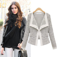 Long-Sleeve Knitted Blazer