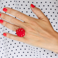 Sea stone statement ring, crochet ring, red lace ring, cocktail ring, one of a kind