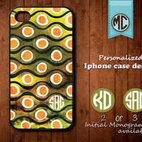 Personalized iPhone Case - Plastic or Silicone Rubber Monogram iPhone 4 4S Case Cover - K011