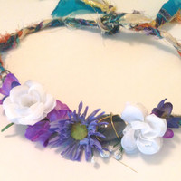 purple and blue flower crown with stone