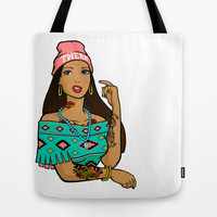 Hipster Pocahontas Tote Bag by LookHUMAN