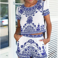 Womens Two Piece Suit 2016 New Fashion Blue and White Porcelain Playsuit Bodycon Party Club Jumpsuit & Romper Shorts Tops