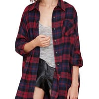 Plaid Print Shirt Collar Shirt