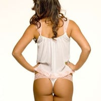 White Wedding Lingerie White and Pink Lace Thong by NaughtyNaughty