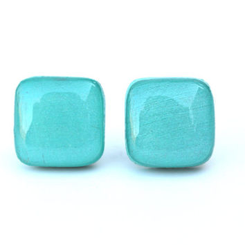 Blue earrings - blue square studs - blue studs - blue square post earrings earrings branch jewelry wood earrings eco friendly unique for her
