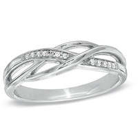 Diamond Accent Split Shank Band in Sterling Silver - View All Rings - Zales