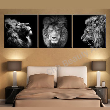 3 Panels Lion king canvas art modern abstract painting wall pictures for living room decoration pictures canvas print no frame