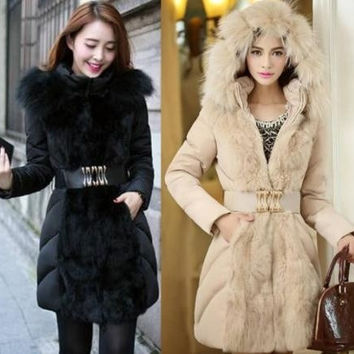 Winter women's coat fashion luxury Faux fur coat oversized fur collar and long sections overcoat Down padded coat parkas = 1932467268