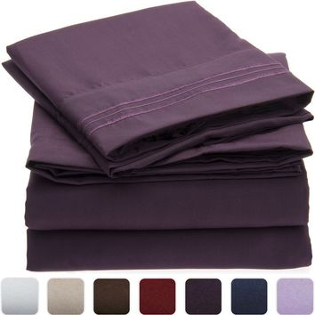 Wrinkle, Fade, Stain Resistant, Hypoallergenic Microfiber 4 Piece Sheet Set