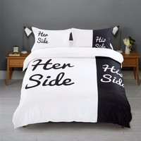 """Cool """"Her Side His Side"""" 3pcs Contains 1 duvet cover and 2 pillow cases USA CA Full Queen size bedding European Queen King bed linenAT_93_12"""
