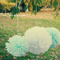 Something Blue - 30 Tissue Paper Pom Poms - or choose your colors - Fast Shipping - Wedding Reception Decorations / Party Flowers