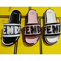 FENDI new men and women graffiti letters casual home slippers sandals