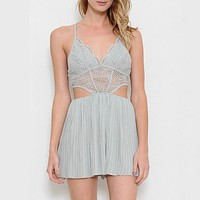 first lace winner open back romper - more colors