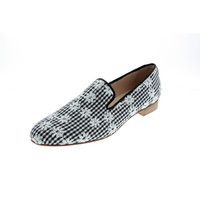 Pertini Womens Embroidered Checkered Loafers
