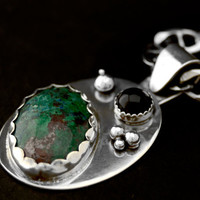 Green Agate and Onyx Pendant with Solid Sterling Silver Bubbles One of a Kind Necklace