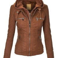 MBJ WJC663 Womens Removable Hoodie Motorcyle Jacket S CAMEL