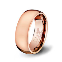 Rose Gold Tungsten Ring -Classic Dome Style Solid Mens and Womens Wedding Band in Tungsten Carbide