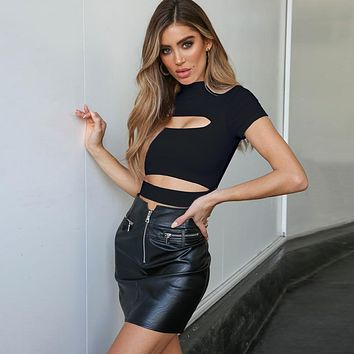 Personality Edgy Hollow Turtleneck Short Sleeve Solid Color Crop Tops