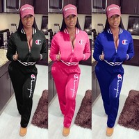 Champion Fashion Women Leisure Jacket Coat Pants Trousers Set Two-Piece Sportswear