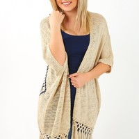 Seems Like Forever Cardigan: Cream/Navy - Outerwear - Tops