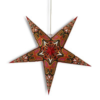 """24"""" Red / Black Butterfly Glitter Paper Star Lantern, Hanging Wedding & Party Decoration"""