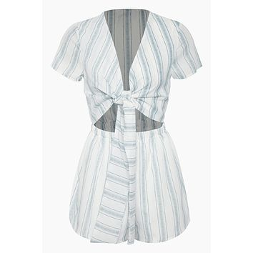 Wait For Her Knot Front Cut Out Romper - White/Blue Stripes Print