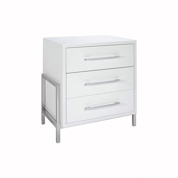 Cohen White 3-Drawer Side Table