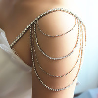 2Pcs 4 Rows Bridal Shoulder Chain Bra Straps Rhinestone Crystal Shoulder Strap Wedding Party Body Jewelry