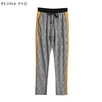 REJINAPYO Women Chic Side Stripe Plaid Pant Elastic Drawstring Pockets England Style Lady Casual Ankle-length Trousers
