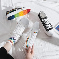 Canvas Shoes Flats Platform Sneakers Rainbow Lace Up Shoes Ladies Casual Shoes Female Canvas Sneakers Comfort