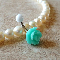 Rose Aqua Green Belly Ring Navel Ring Stainless Steel Body Jewelry