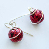 Red Christmas Ornament Earrings, Holiday Jewelry, Polymer Clay Jewelry