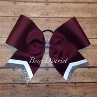 """3"""" Maroon Team Cheer Bow with White and Silver Glitter Tail Stripes"""