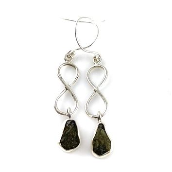 Moldavite Sterling Silver Infinity Earrings