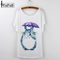 Cartoon Totoro T Shirt Women Print harajuku 2017 Fashion Short Sleeve T-shirts Women Graphic Tees Tops Female Tshirt Camisetas