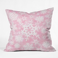 Lisa Argyropoulos Snow Flurries in Pink Throw Pillow