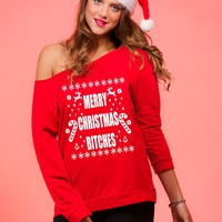 Merry Christmas Women's Off Shoulder Ugly Xmas Sweater