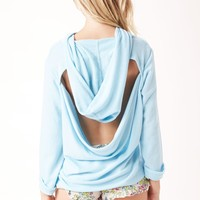 COWL NECK FRENCH TERRY HOODIE