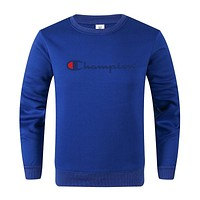 Champion Autumn And Winter New Fashion Bust Letter Print Leisure Women Men Long Sleeve Top Sweater Blue